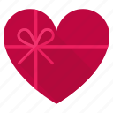 box, gift, heart, present, romance, top view, valintines icon