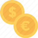 cash, coins, currency coins, dollar, euro icon