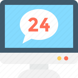 customer service, customer support, full time service, helpline, twenty four hours icon