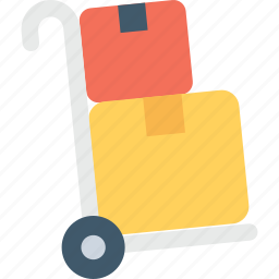 hand trolley, hand truck, luggage cart, pushcart, trolley icon