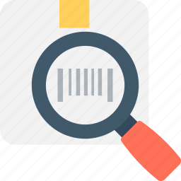 barcode scanning, delivery service, magnifier, package search, shipment icon