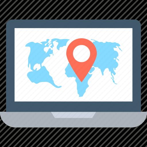 global destination, gps, laptop screen, navigation, online map icon