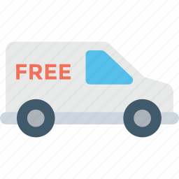 delivery service, delivery van, free delivery, freight, logistics icon