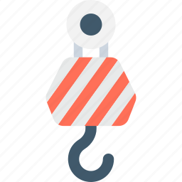 container lifter, crane hook, harbor pulley, lifting pulley, weight holder icon