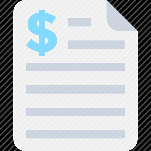 bill, check, invoice, receipt, statement icon