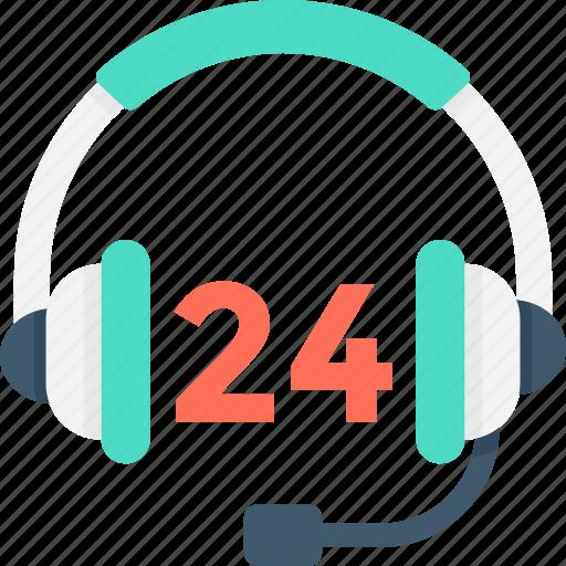 call center agent, customer service, customer support, helpline, twenty four hours icon