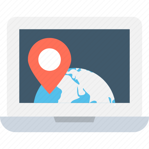 global destination, gps, laptop screen, navigation, online map icon
