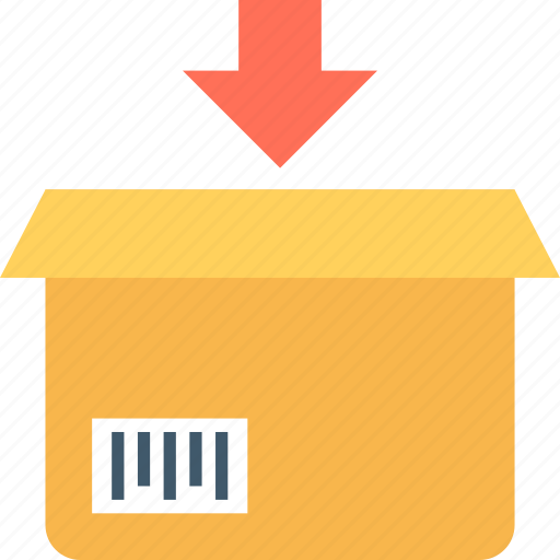 box, carton, delivery box, down arrow, packaging icon