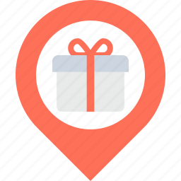 gift, gift box, gift shop, map pointer, store location icon