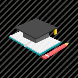 education, graduate, graduation, hat, high school, reading, study icon