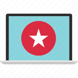 favorite, laptop, online, sign, star, website icon