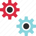 analyze, connect, data, gear, options icon