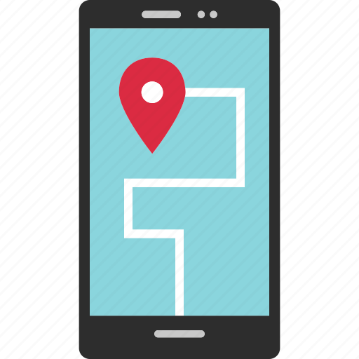by, cell, destination, directions, gps, location, phone icon