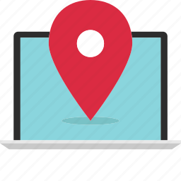 find, gps, laptop, location, look, online, web icon