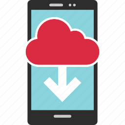arrow, cloud, data, down, request, send icon