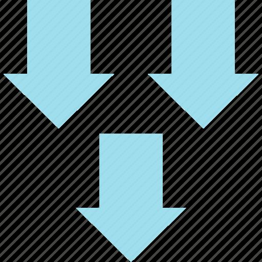 Down, arrows, point icon