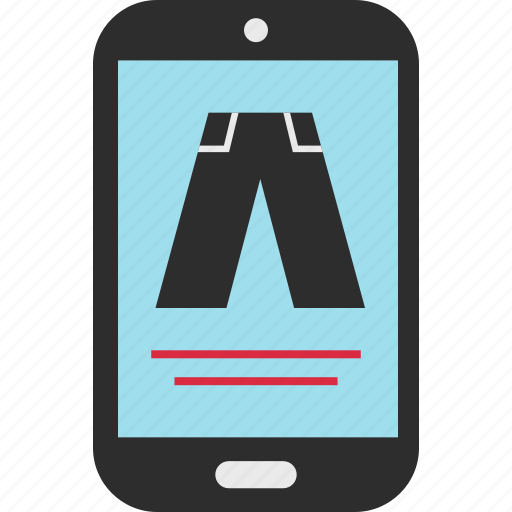 cell, ecommerce, pants, phone icon