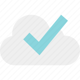 check, cloud, data, mark, ok, online, server icon