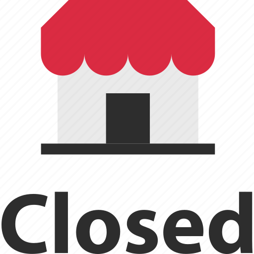 business, closed, front, store icon