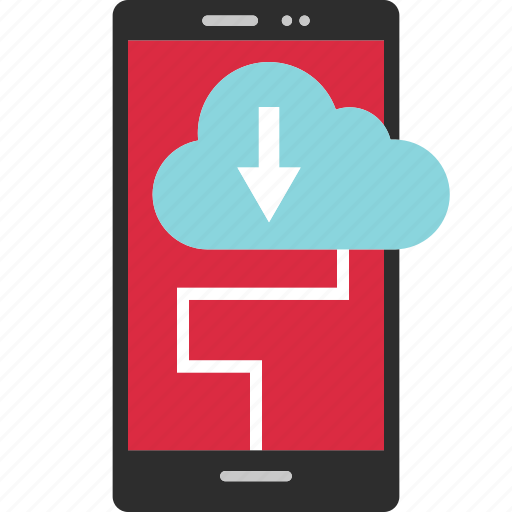 arrow, cell, cloud, data, download, phone, send icon