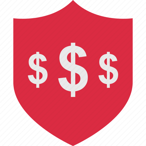 dollar, pay, secured, shield icon