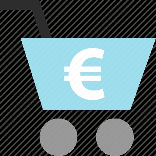 cart, ecommerce, euro, sign icon
