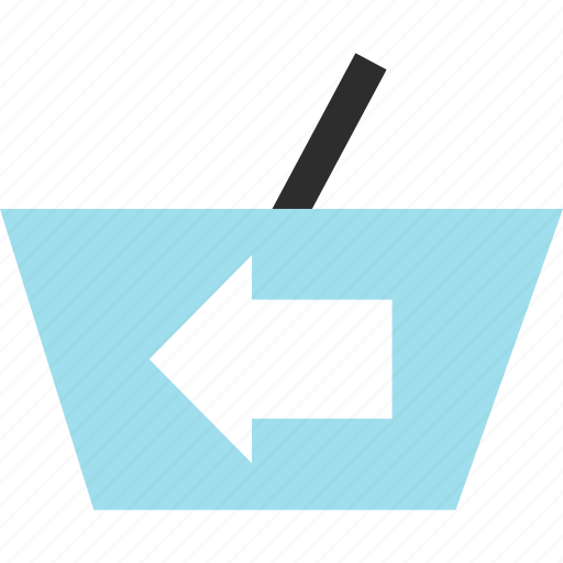 cart, hand, left, point icon