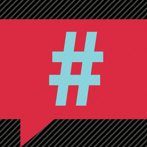 bubble, chat, communication, connect, hashtag icon