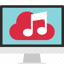 cloud, data, download, music, play, save, server icon