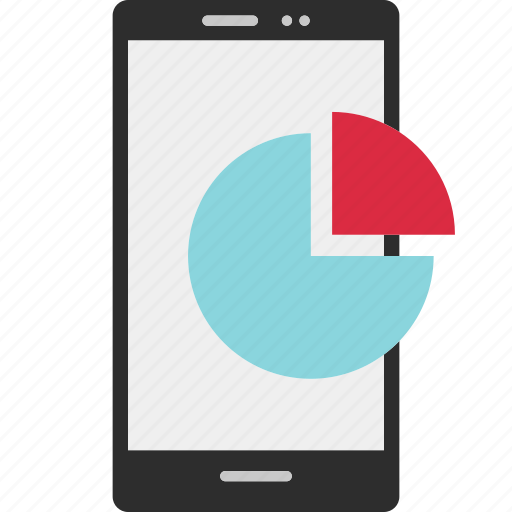 analytics, cell, chart, graph, phone, pie, report icon