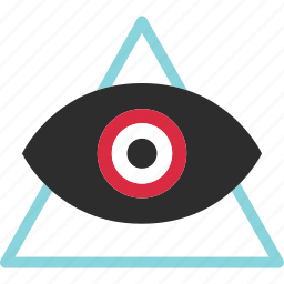 eye, online, sign, traingle, views, web icon