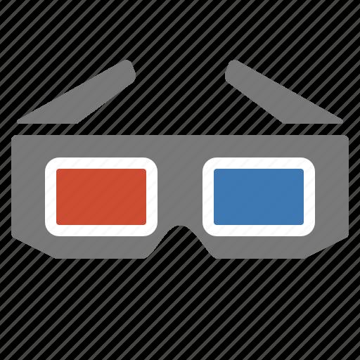 dimensions, glasses, movie, three, tv icon