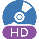 disc, hd, quality, type icon
