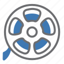 movie, reel, roll, film, vintage icon