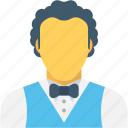 butler, food server, male waiter, waiter, waiting staff icon
