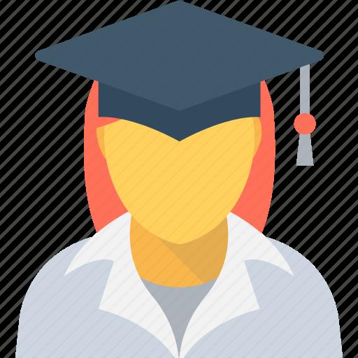graduate, learner, scholar, schoolgirl, student icon