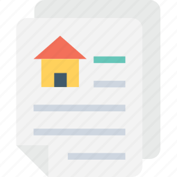 house, house loan, mortgage, property papers, rental agreement icon