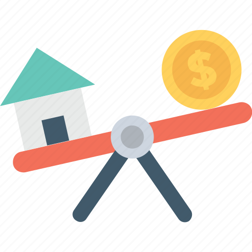 budget, dollar, mortgage, property value, seesaw icon
