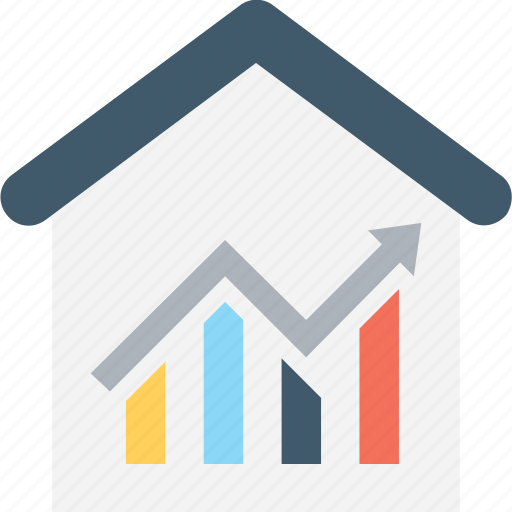 asset pricing, building, growth graph, property graph, real estate icon