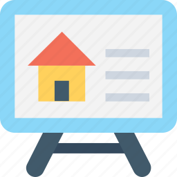 graph, house, presentation, projection screen, real estate icon