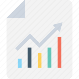 business report, growing graph, increasing, profit chart, report icon