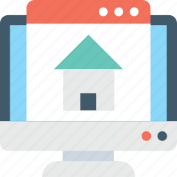 eshop, home, monitor, online property, real estate icon