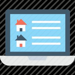 e commerce, laptop, online estate, online property, website icon