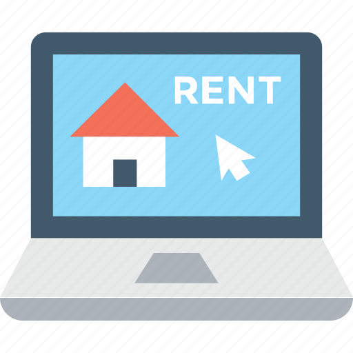 for rent, home, laptop, online estate, online property icon