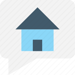 chat bubble, house, property, property advising, property talk icon