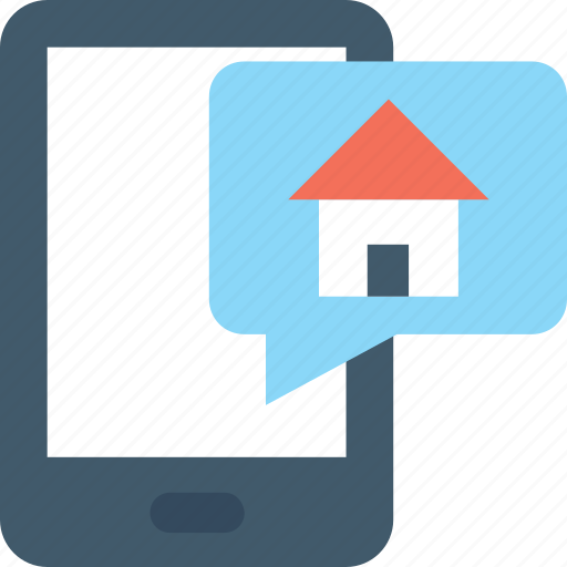 chat bubble, house, mobile chat, property, property talk icon