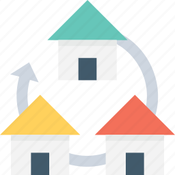 houses, housing society, property services, reload arrow, residential area icon
