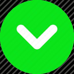 arrow head, bottom, down, green arrow, push icon