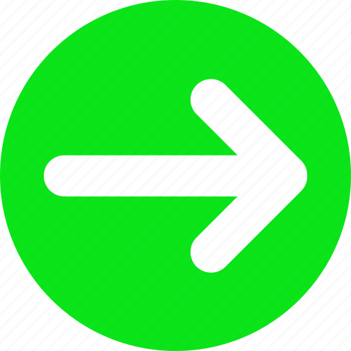 arrow, direction, green, move, progress, right icon