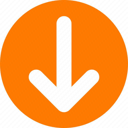 arrow, bottom, down, orange, orange arrow, pull icon